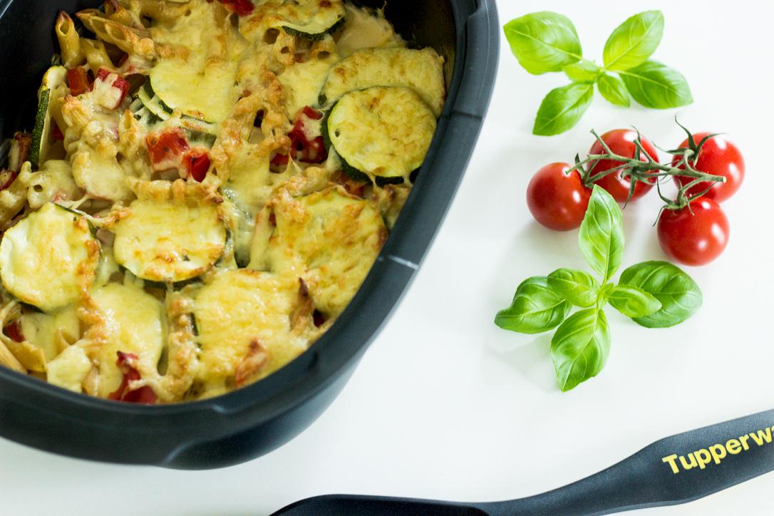 Nudelauflauf mit Paprika und Zucchini